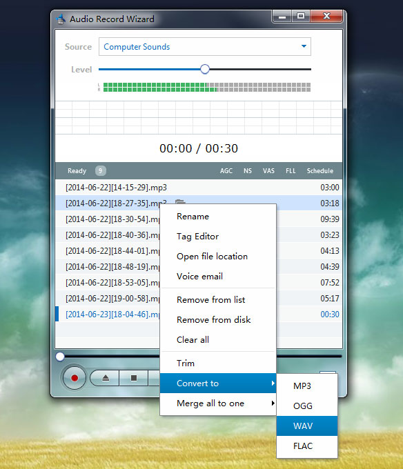 Audio Record Wizard is a real time sound recorder software, which offers professional recording features with VAS(Voice Active System) and mp3/ogg support.
